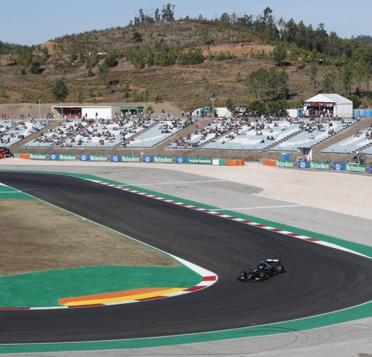 Valtteri Bottas racing in the Portuguese GP practice