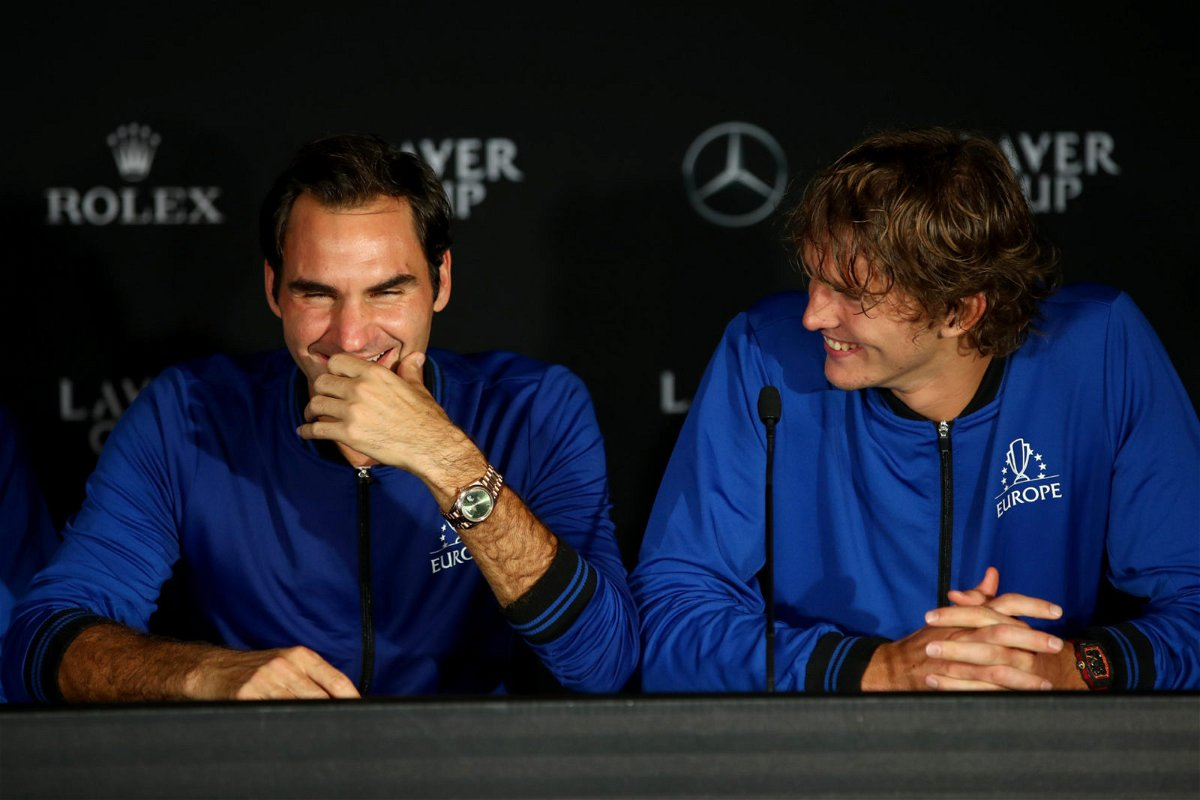 Roger Federer and Alexander Zverev speeaking to the media post the men's singles match on Day 3 of the 2018 Laver Cup