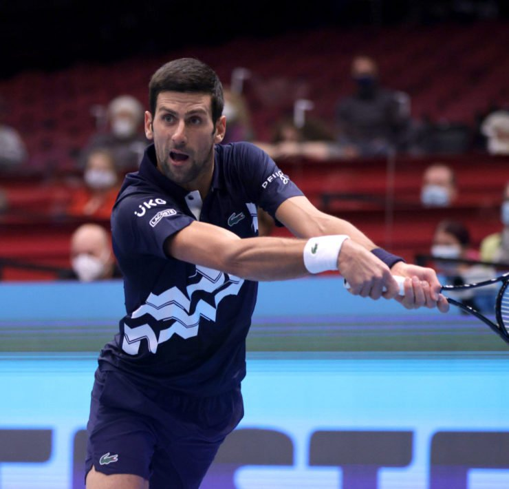 Novak Djokovic in motion at ATP Vienna Open