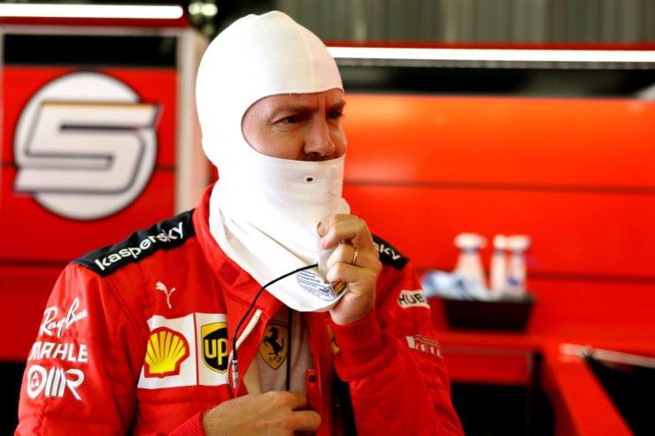 Sebastian Vettel in the F1 paddock prior to the Portuguese GP