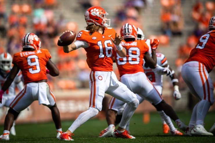 Clemson Tigers quarterback Trevor Lawrence attempts to make a play.