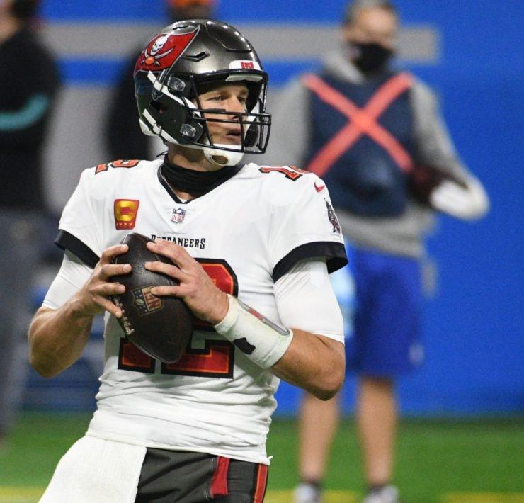 Tampa Bay Buccaneers quarterback Tom Brady attempts a pass against Detroit Lions