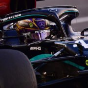 Lewis Hamilton driving his Mercedes W11 at Yas Marina Circuit 2020