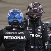 Lewis Hamilton and Valtteri Bottas celebrating their podiums at Abu Dhabi GP 2020