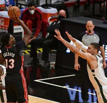 Bam Adebayo of Miami Heat vs Milwaukee Bucks