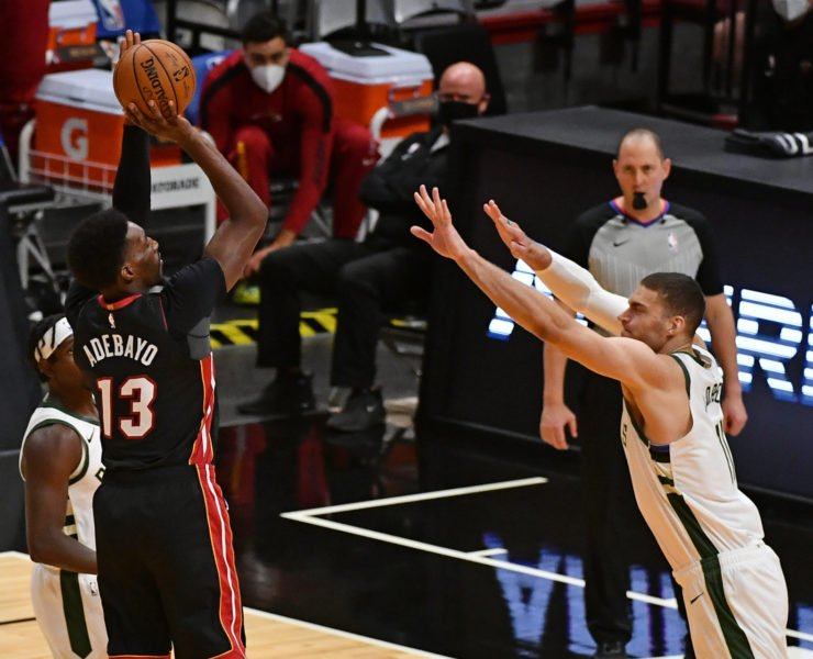 Bam Adebayo of Miami Heat vs Milwaukee Bucks