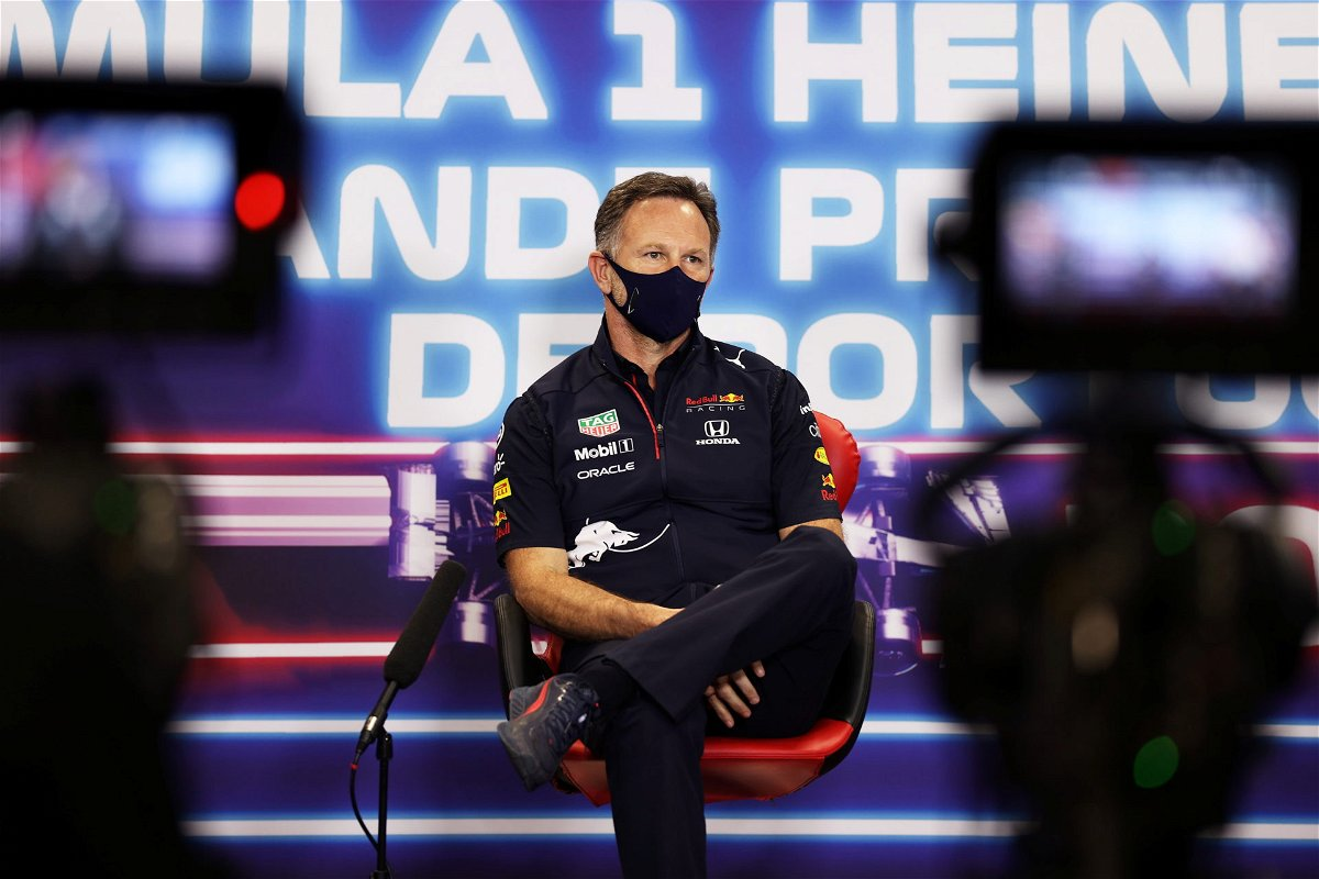 Christian Horner during F1 press conference in Portugal