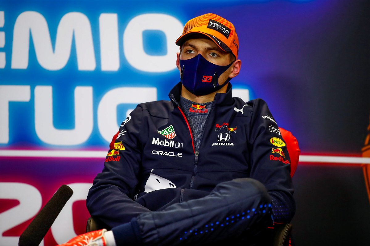 Max Verstappen during the post-qualifying press conference