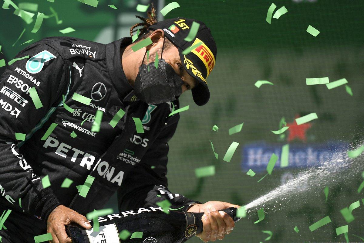Lewis Hamilton celebrating the win in Portimao