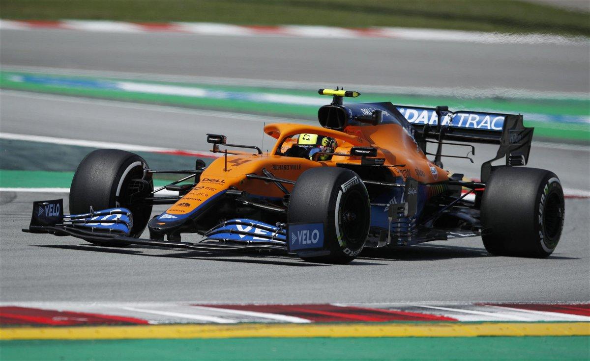 McLaren's Lando Norris in action during practice