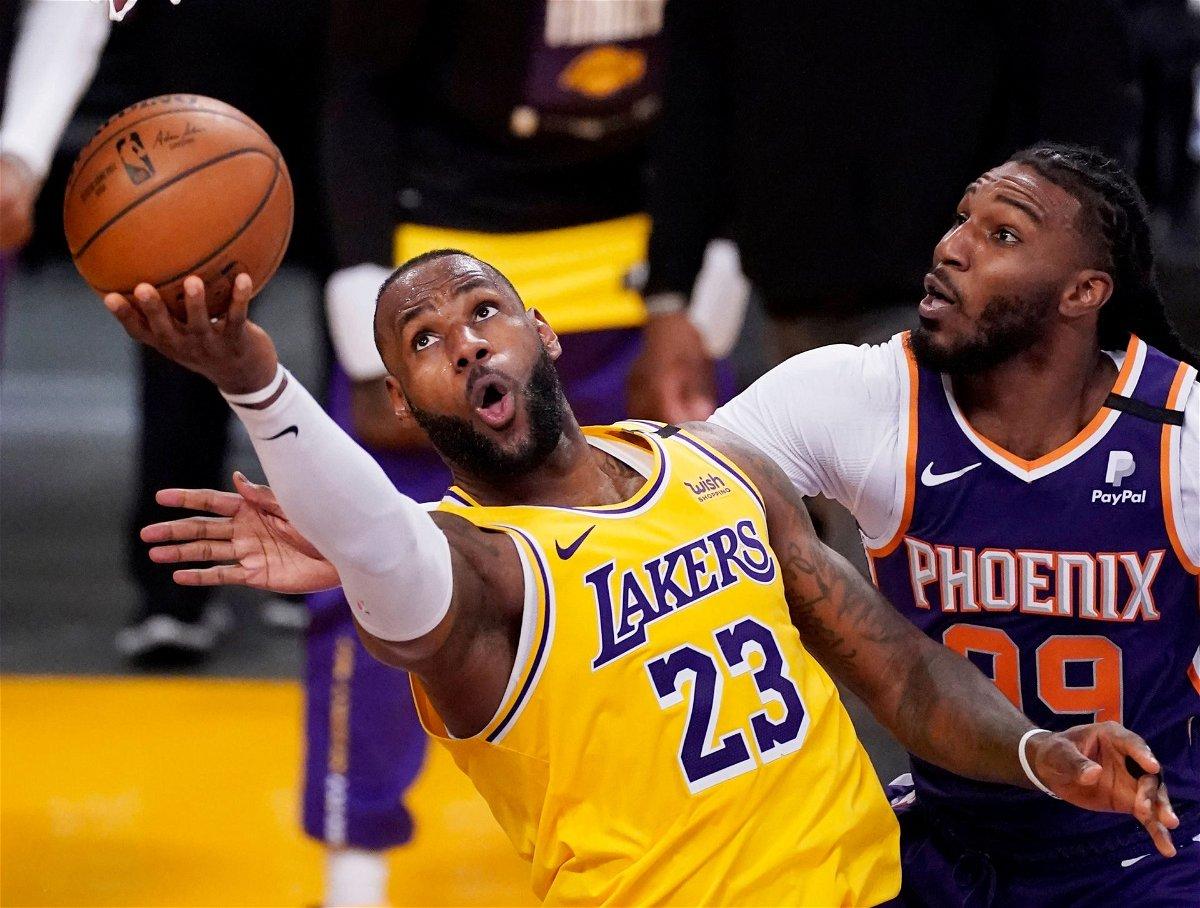 LeBron James makes a shot in NBA Playoffs 2021