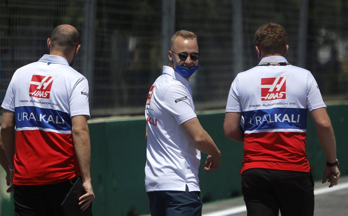 Nikita Mazepin doing the track walk at the Azerbaijan GP