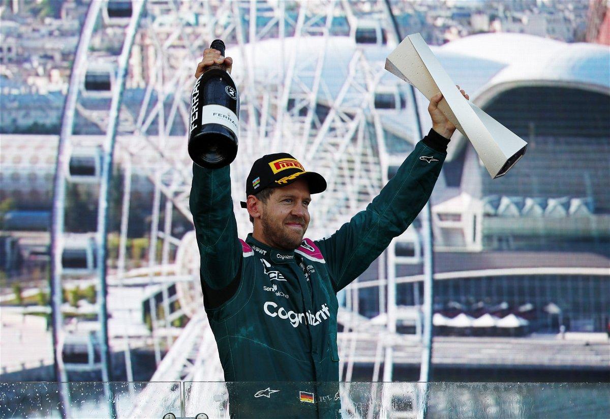 Sebastian Vettel celebrates his podium in the Azerbaijan GP