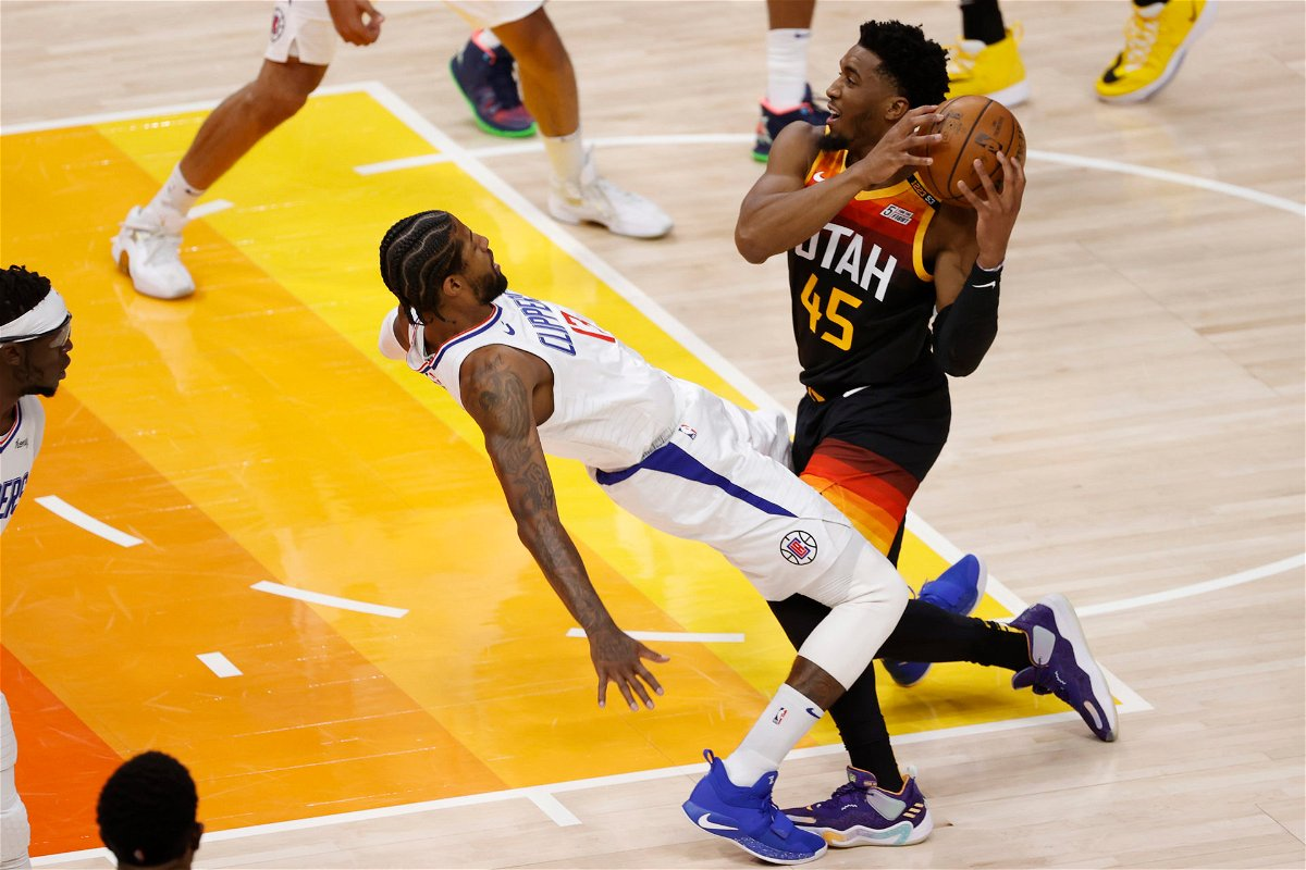 Donovan Mitchell on the drive during 2021 playoff game against Clippers