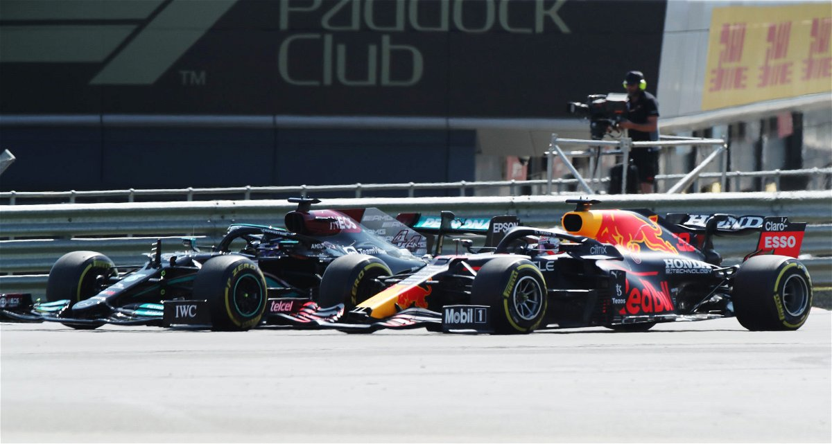 Max and Lewis fighting for the lead F1