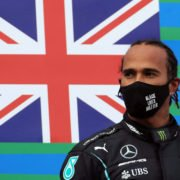 Lewis Hamilton stands atop the podium in Germany after the Eifel Grand Prix