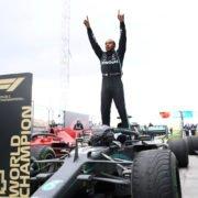 Lewis Hamilton celebrates winning his 7th F1 world title