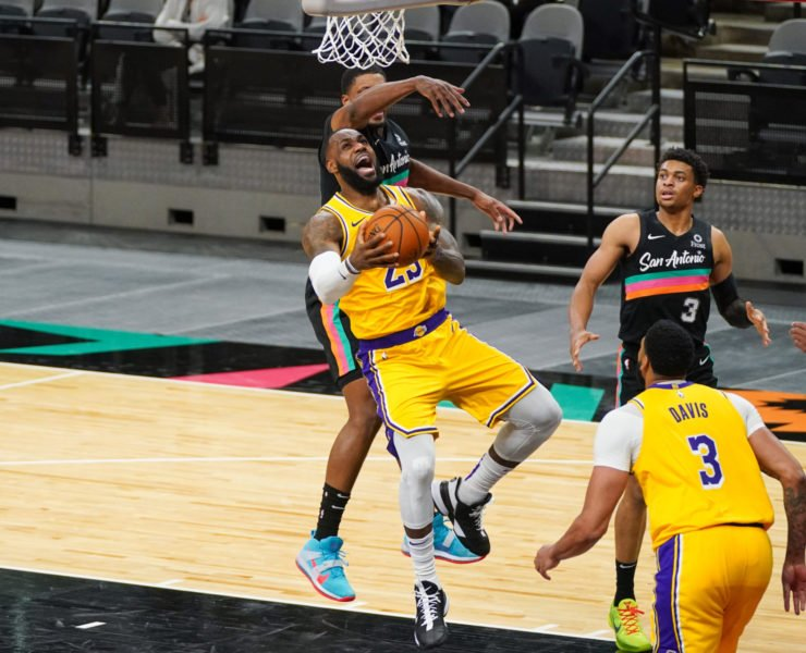LeBron James of the Lakers against the Spurs