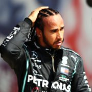 Lewis Hamilton looks on after the 70th anniversary Gp