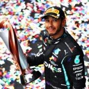 Lewis Hamilton celebrating after winning the 2020 F1 Turkish GP