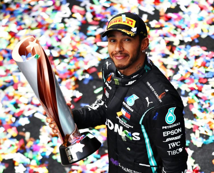 Lewis Hamilton celebrating after winning the 2020 F1 Turkish GP