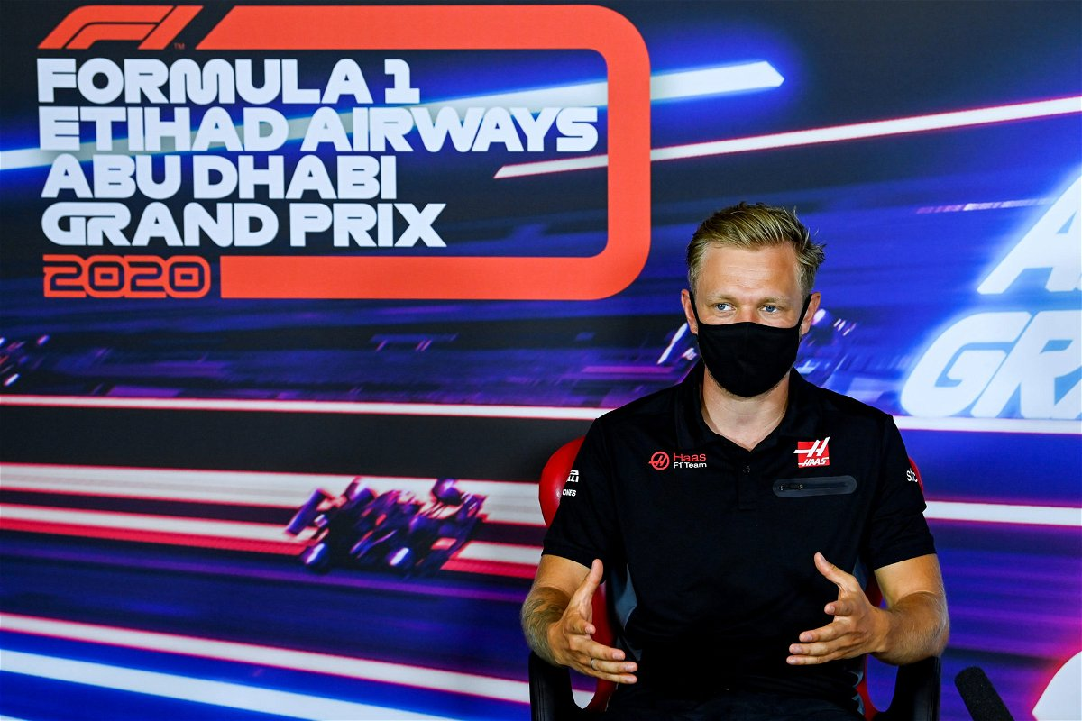 Kevin Magnussen at a press conference in Abu Dhabi