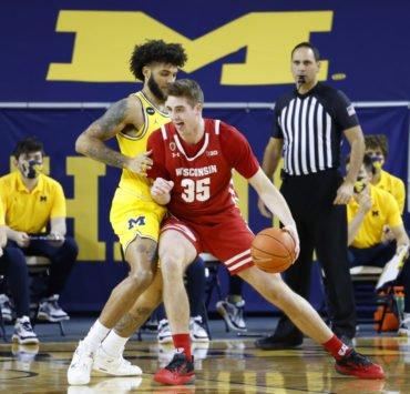 NCAA Men's Basketball: Wisconsin Badgers forward Nate Reuvers