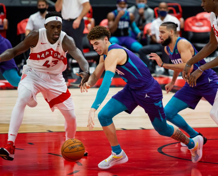 Charlotte Hornets guard LaMelo Ball against the Toronto Raptors