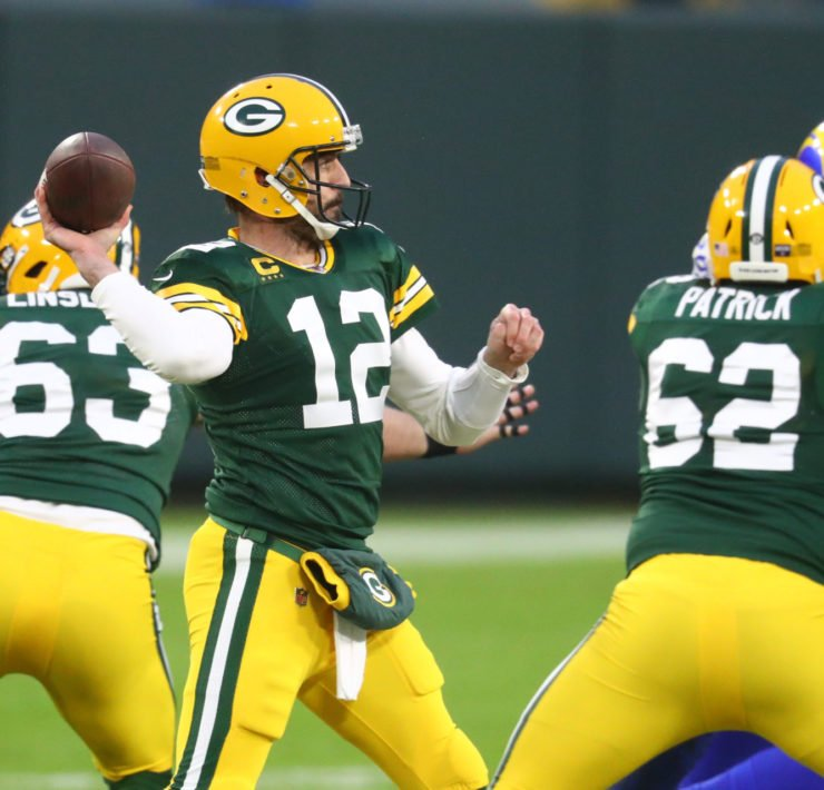Green Bay Packers QB Aaron Rodgers against LA Rams.