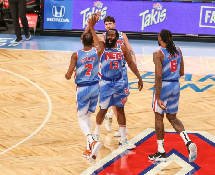 Brooklyn Nets' James Harden and Kevin Durant