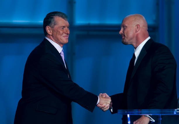 Vince McMahon and Stone Cold Steve Austin at WrestleMania press meet