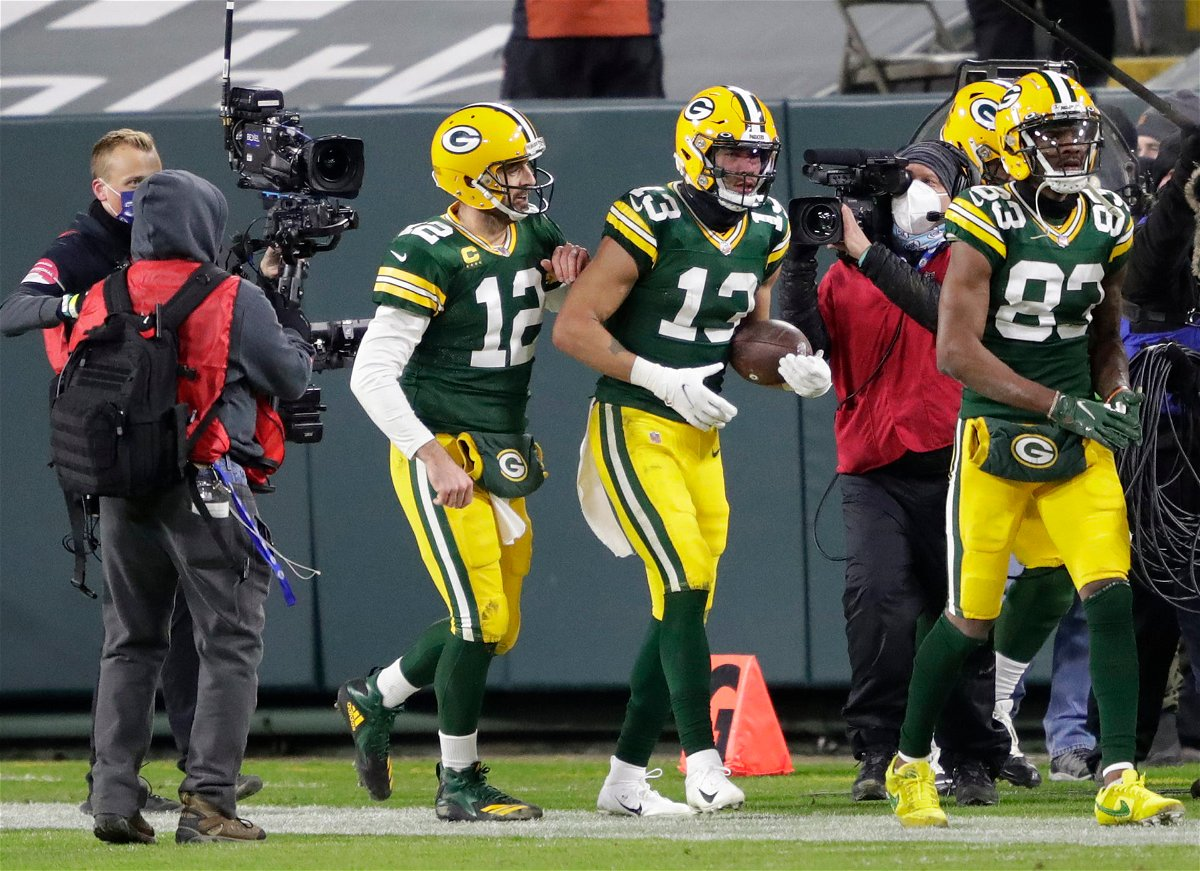 Green Bay Packers quarterback Aaron Rodgers pictured against Los Angeles Rams.