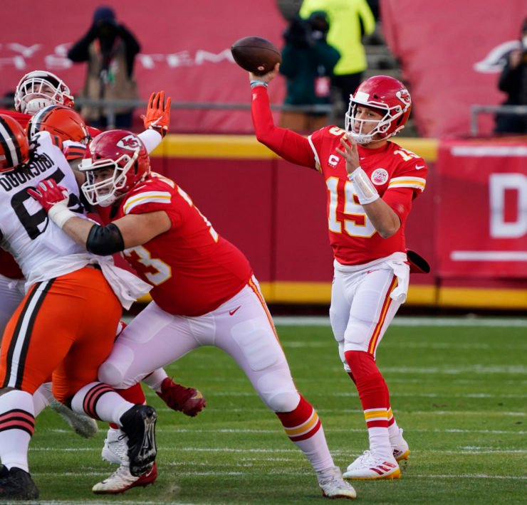Kansas City Chiefs quarterback Patrick Mahomes pictured against Cleveland Browns.