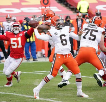 Cleveland Browns quarterback Baker Mayfield pictured against Kansas City Chiefs.