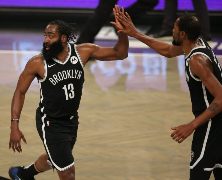 NBA Brooklyn Nets James Harden and Kevin Durant