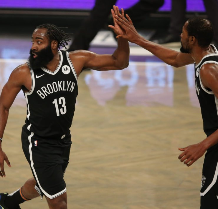 NBA Brooklyn Nets' James Harden and Kevin Durant