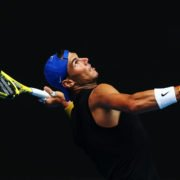 Rafael Nadal practicing at Australian Open