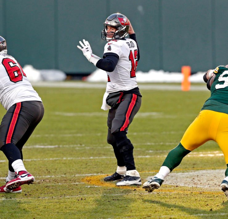 Tampa Bay Buccaneers QB Tom Brady pictured against Green Bay Packers.