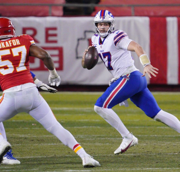 Buffalo Bills QB Josh Allen pictured against Kansas City Chiefs.