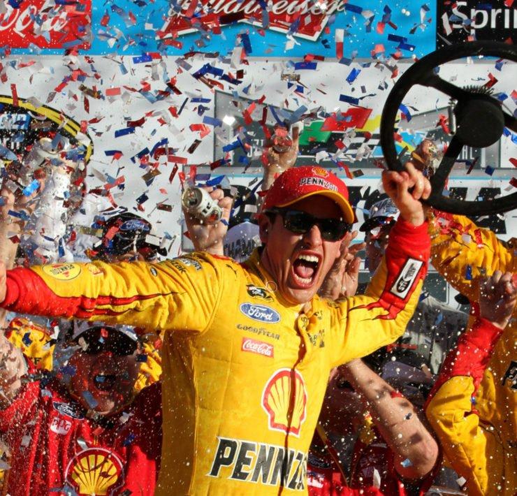 Joey Logano celebrates his NASCAR Daytona 500 win
