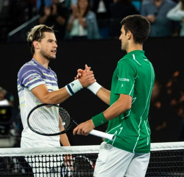 Dominic Thiem and Novak Djokovic at Australian Open 2020