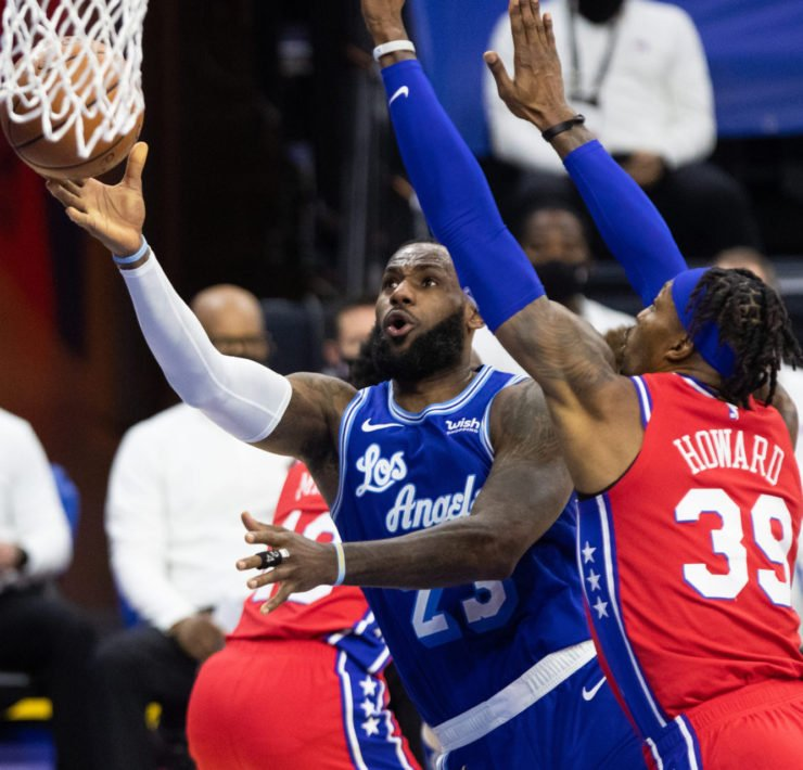 LeBron James of Los Angeles Lakers vs Sixers