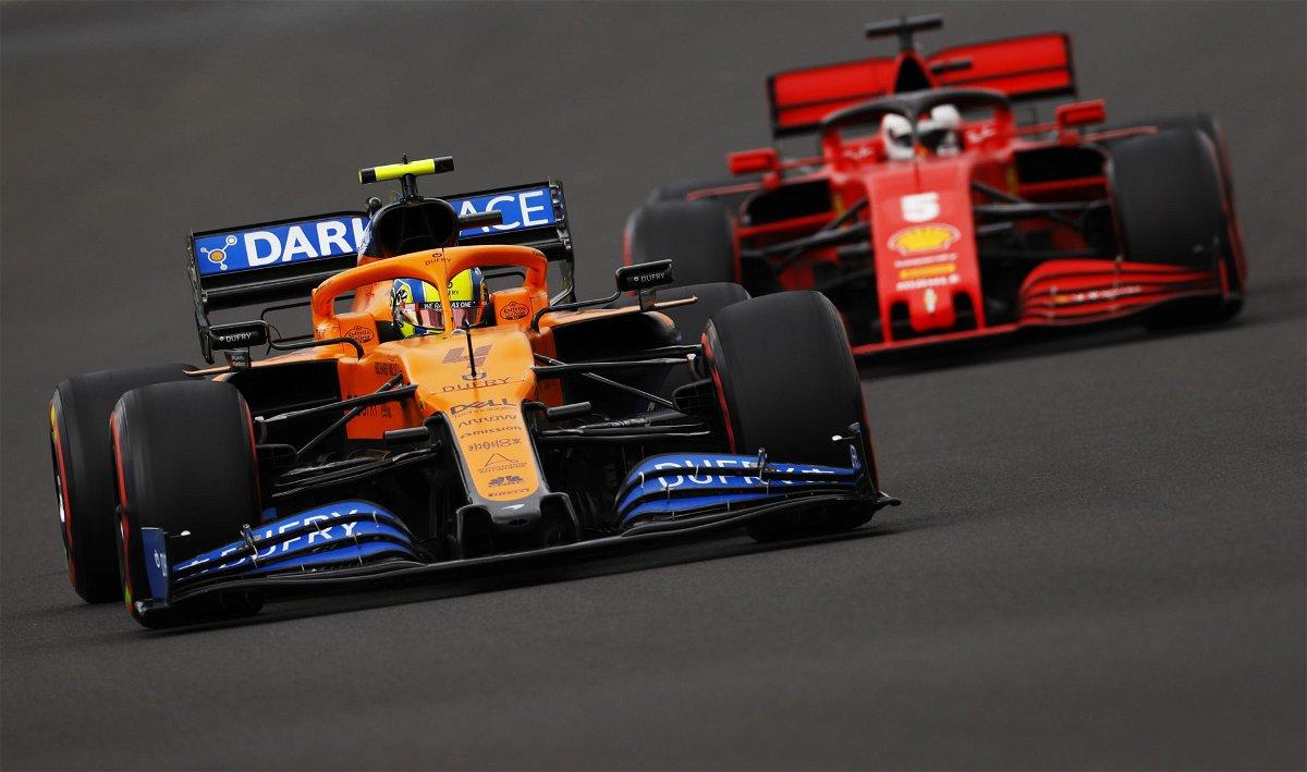 McLaren's Lando Norris battles Ferrari driver Sebastian Vettel