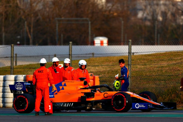 Lando Norris of McLaren after a crash