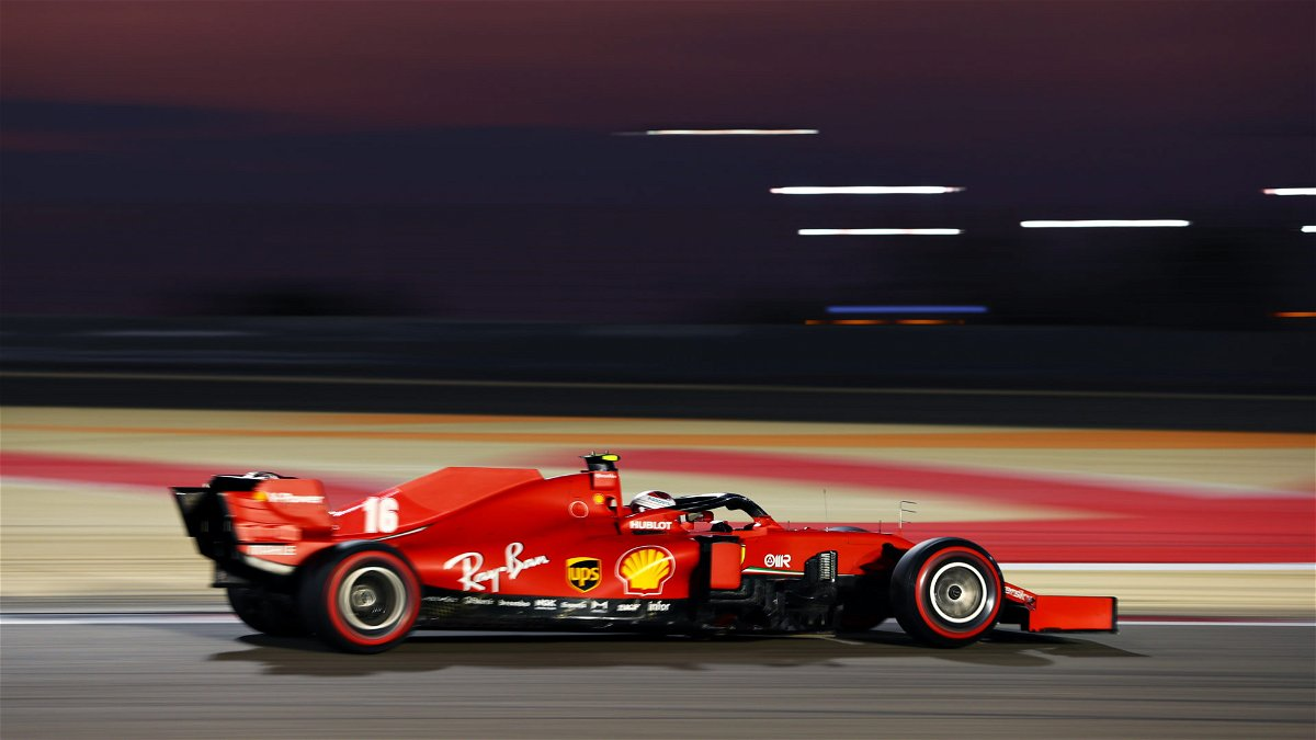 The Ferrari F1 of Charles Leclerc in action