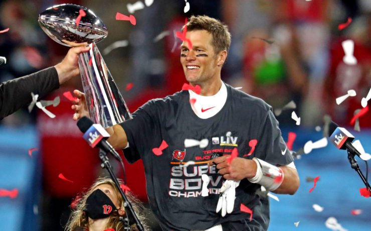 Tampa Bay Buccaneers QB Tom Brady pictured after Super Bowl LV win.