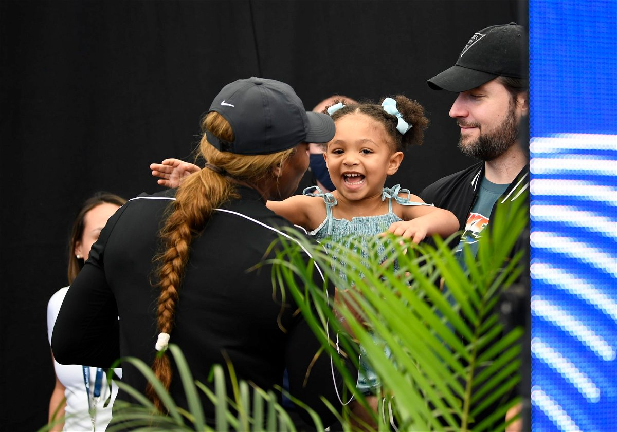 Serena Williams with daughter Olympia and husband Alexis Ohanian