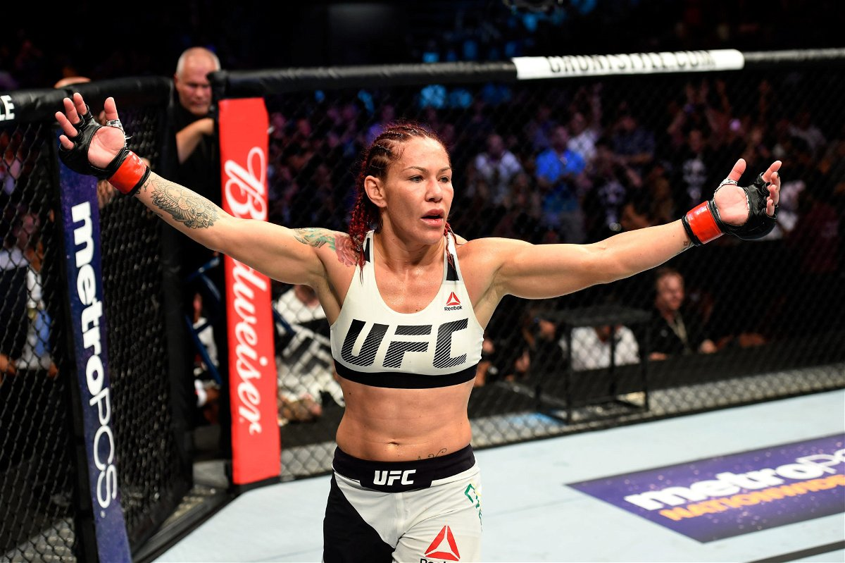 Cris Cyborg of Brazil reacts after defeating Tonya Evinger by TKO