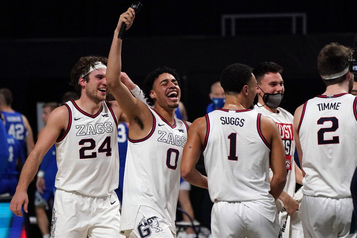 Gonzaga Bulldogs celebrate during the 2021 March Madness tournament