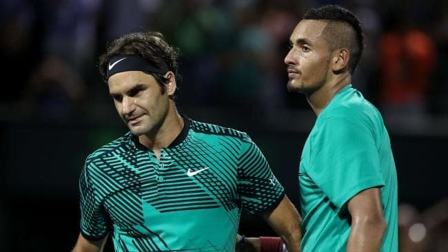 Nick Kyrgios and Roger Federer